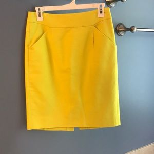 Chartreuse pencil skirt